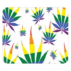 Marijuana Cannabis Rainbow Love Green Yellow Red White Leaf Double Sided Flano Blanket (small)  by Mariart