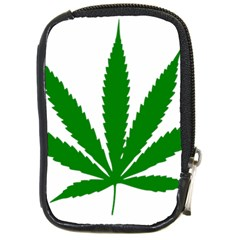 Marijuana Weed Drugs Neon Cannabis Green Leaf Sign Compact Camera Cases by Mariart