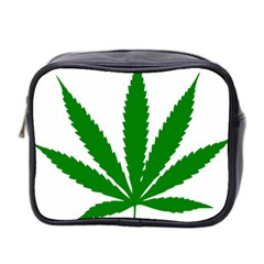 Marijuana Weed Drugs Neon Cannabis Green Leaf Sign Mini Toiletries Bag 2 Side by Mariart