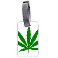 Marijuana Weed Drugs Neon Cannabis Green Leaf Sign Luggage Tags (one Side)  by Mariart