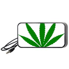 Marijuana Weed Drugs Neon Cannabis Green Leaf Sign Portable Speaker (black) by Mariart