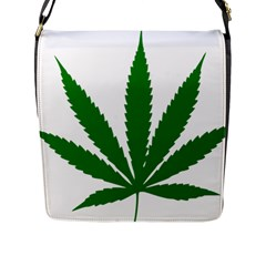 Marijuana Weed Drugs Neon Cannabis Green Leaf Sign Flap Messenger Bag (l)  by Mariart