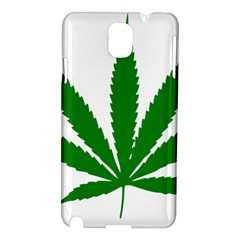 Marijuana Weed Drugs Neon Cannabis Green Leaf Sign Samsung Galaxy Note 3 N9005 Hardshell Case by Mariart