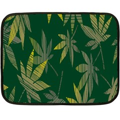 Marijuana Cannabis Rainbow Love Green Yellow Leaf Fleece Blanket (mini) by Mariart