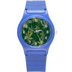 Marijuana Cannabis Rainbow Love Green Yellow Leaf Round Plastic Sport Watch (s) by Mariart