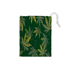 Marijuana Cannabis Rainbow Love Green Yellow Leaf Drawstring Pouches (small)  by Mariart