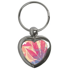 Marijuana Heart Cannabis Rainbow Pink Cloud Key Chains (heart)  by Mariart