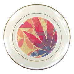 Marijuana Heart Cannabis Rainbow Pink Cloud Porcelain Plates by Mariart