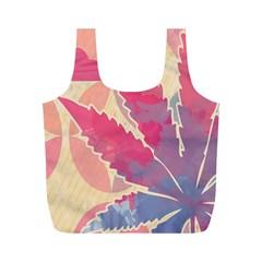 Marijuana Heart Cannabis Rainbow Pink Cloud Full Print Recycle Bags (m)  by Mariart