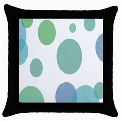 Polka Dots Blue Green White Throw Pillow Case (black) by Mariart