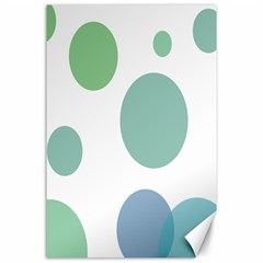 Polka Dots Blue Green White Canvas 24  X 36  by Mariart