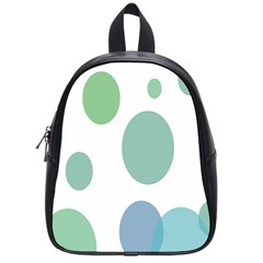 Polka Dots Blue Green White School Bag (small) by Mariart