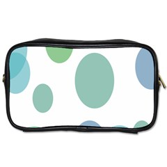Polka Dots Blue Green White Toiletries Bags 2 Side by Mariart