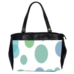 Polka Dots Blue Green White Office Handbags (2 Sides)  by Mariart