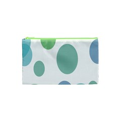 Polka Dots Blue Green White Cosmetic Bag (xs) by Mariart