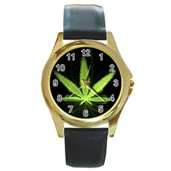 Marijuana Weed Drugs Neon Green Black Light Round Gold Metal Watch by Mariart