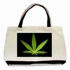Marijuana Weed Drugs Neon Green Black Light Basic Tote Bag by Mariart