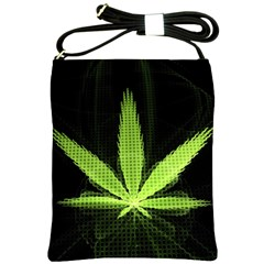 Marijuana Weed Drugs Neon Green Black Light Shoulder Sling Bags by Mariart
