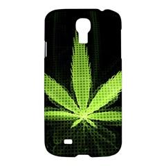 Marijuana Weed Drugs Neon Green Black Light Samsung Galaxy S4 I9500/i9505 Hardshell Case by Mariart