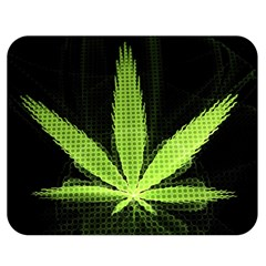 Marijuana Weed Drugs Neon Green Black Light Double Sided Flano Blanket (medium)  by Mariart