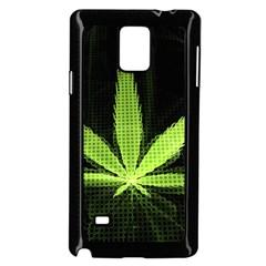 Marijuana Weed Drugs Neon Green Black Light Samsung Galaxy Note 4 Case (black) by Mariart