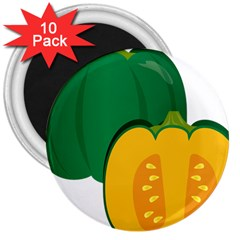 Pumpkin Peppers Green Yellow 3  Magnets (10 Pack)  by Mariart