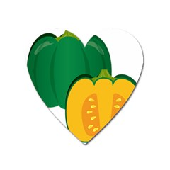 Pumpkin Peppers Green Yellow Heart Magnet by Mariart