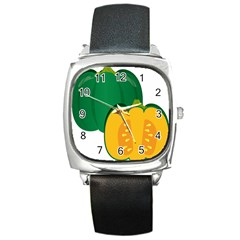 Pumpkin Peppers Green Yellow Square Metal Watch by Mariart