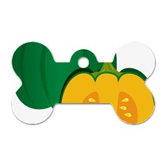 Pumpkin Peppers Green Yellow Dog Tag Bone (one Side) by Mariart