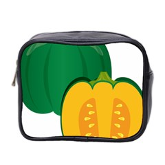 Pumpkin Peppers Green Yellow Mini Toiletries Bag 2 Side by Mariart