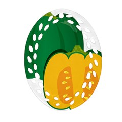 Pumpkin Peppers Green Yellow Ornament (oval Filigree) by Mariart