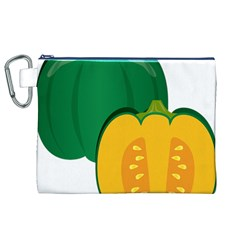 Pumpkin Peppers Green Yellow Canvas Cosmetic Bag (xl) by Mariart