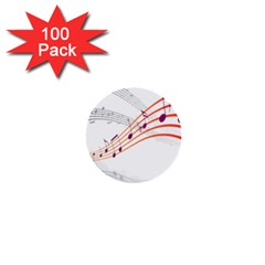 Musical Net Purpel Orange Note 1  Mini Buttons (100 Pack)  by Mariart