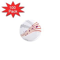 Musical Net Purpel Orange Note 1  Mini Magnets (100 Pack)  by Mariart