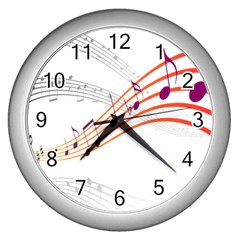 Musical Net Purpel Orange Note Wall Clocks (silver)  by Mariart