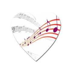 Musical Net Purpel Orange Note Heart Magnet by Mariart