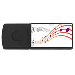 Musical Net Purpel Orange Note Rectangular Usb Flash Drive by Mariart