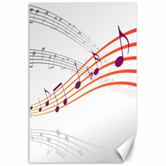 Musical Net Purpel Orange Note Canvas 24  X 36  by Mariart