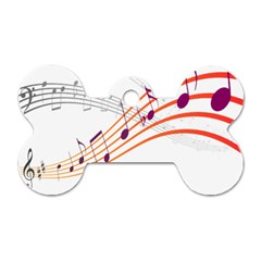Musical Net Purpel Orange Note Dog Tag Bone (two Sides) by Mariart
