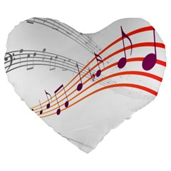 Musical Net Purpel Orange Note Large 19  Premium Heart Shape Cushions by Mariart