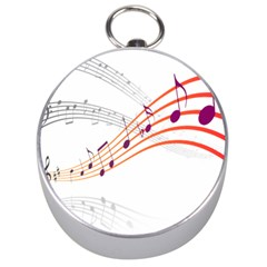 Musical Net Purpel Orange Note Silver Compasses by Mariart