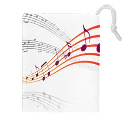 Musical Net Purpel Orange Note Drawstring Pouches (xxl) by Mariart
