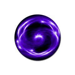 Purple Black Star Neon Light Space Galaxy Rubber Coaster (round)  by Mariart