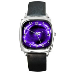 Purple Black Star Neon Light Space Galaxy Square Metal Watch by Mariart