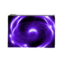 Purple Black Star Neon Light Space Galaxy Cosmetic Bag (large)  by Mariart