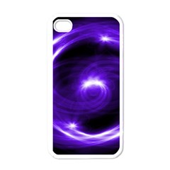 Purple Black Star Neon Light Space Galaxy Apple Iphone 4 Case (white) by Mariart