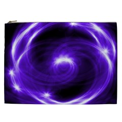 Purple Black Star Neon Light Space Galaxy Cosmetic Bag (xxl)  by Mariart