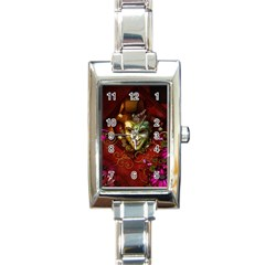 Wonderful Venetian Mask With Floral Elements Rectangle Italian Charm Watch by FantasyWorld7