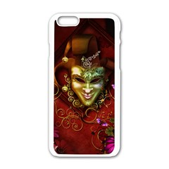Wonderful Venetian Mask With Floral Elements Apple Iphone 6/6s White Enamel Case by FantasyWorld7