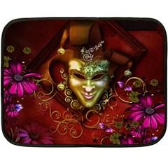 Wonderful Venetian Mask With Floral Elements Fleece Blanket (mini) by FantasyWorld7